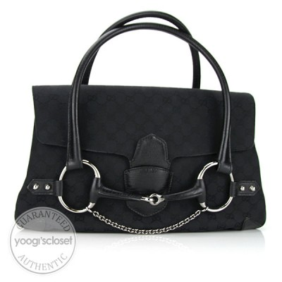 Gucci Black GG Fabric Horsebit Satchel Flap Bag