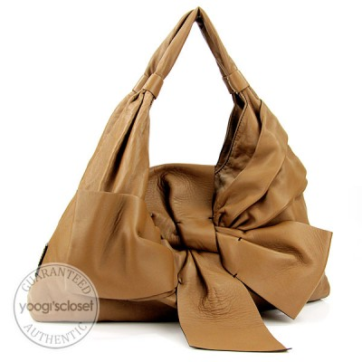 Valentino Garavani Brown Nappa Leather Premier Bow Shoulder Bag