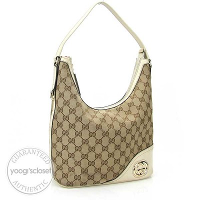 Gucci Beige/Ebony GG Fabric Britt Small Hobo Bag