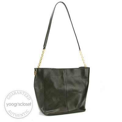 Bottega Olive Green Leather Chain Link Shoulder Bag