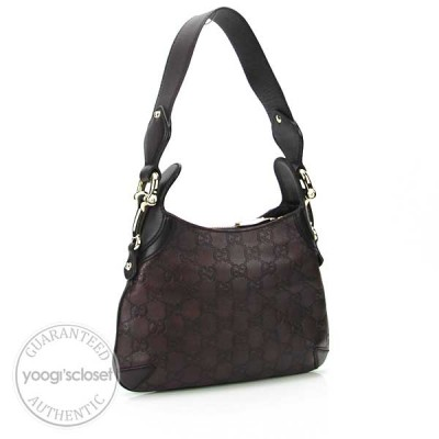 Gucci Chocolate Guccissima Mini Horsebit Shoulder Bag