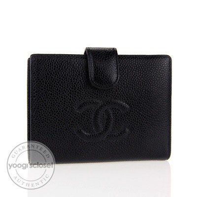 Chanel Black Caviar Leather Compact French Purse Wallet