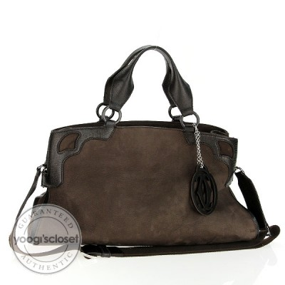 Cartier Brown Suede Medium Marcello Nubuck Bag