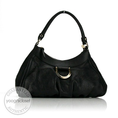 Gucci Black Leather Guccissima Medium D-Ring Hobo Bag