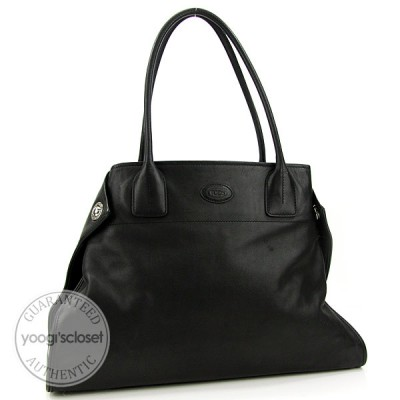 Tod's Black Leather Girelli Tote Bag