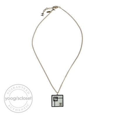 Chanel Black Resin and Swarovski Crystals Art Deco CC Logo Necklace