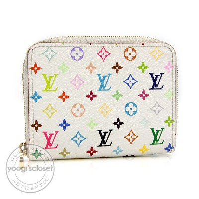 Louis Vuitton White Monogram Multicolore Canvas Zippy Coin Wallet
