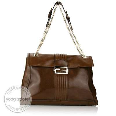 Fendi Olive Leather Maxi Baguette Bag