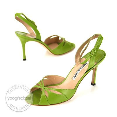 Manolo Blahnik Apple Green Leather Open Toe Ankle Strap Heels Size 9