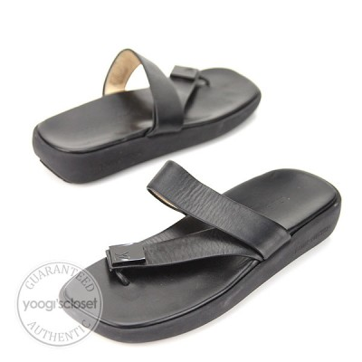 Louis Vuitton Black Leather Rubber Thongs Sandals Size 8.5