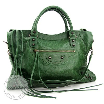 Balenciaga Cypress Green Chevre Motorcycle City Bag