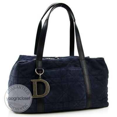 Christian Dior Bleu Marine Suede Cannage Polochon Medium Satchel Bag