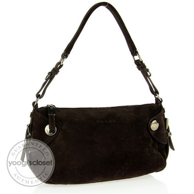 Prada Brown Suede Shoulder Bag