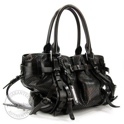 Burberry Prorsum Black Leather Rowan Mesh Satchel Bag
