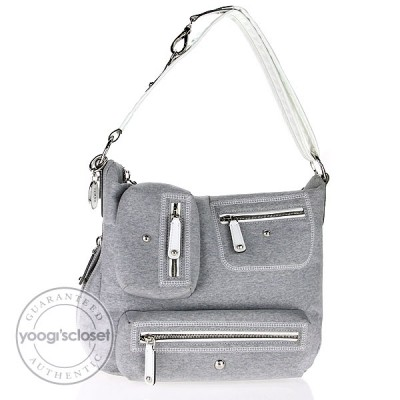 Tod's Grey Coated Canvas Multipocket Hobo Bag