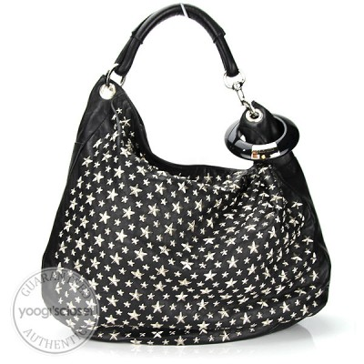 Jimmy Choo Black Nappa Leather Star Studded Sky Hobo Bag