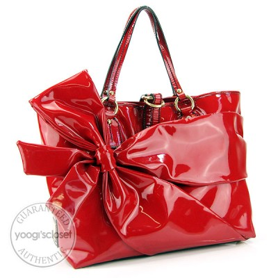 Valentino Red Patent Leather Trim Bow Tote Bag