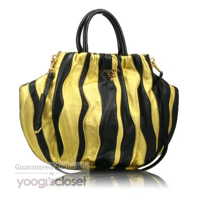 Prada Black/Gold Nappa Stripes Tote Bag BN1687