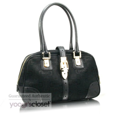 Gucci Black GG Fabric Horsebit Tote Bag