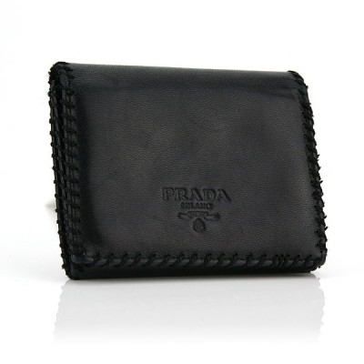 Prada Black Nappa Leather Compact Tri-fold Wallet