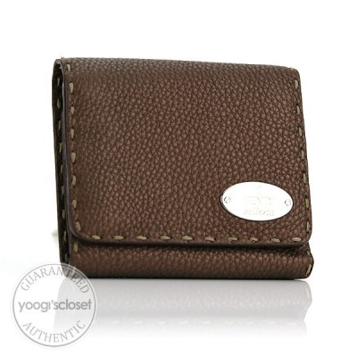 Fendi Brown Selleria Compact Tri-Fold Wallet