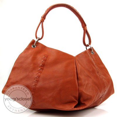 Bottega Veneta Orange/Brown Leather Aquilone Fortune Cookie Hobo Bag