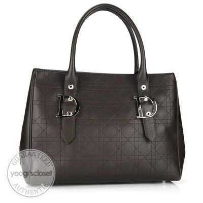 Christian Dior Dark Brown Cannage Large Tote Bag