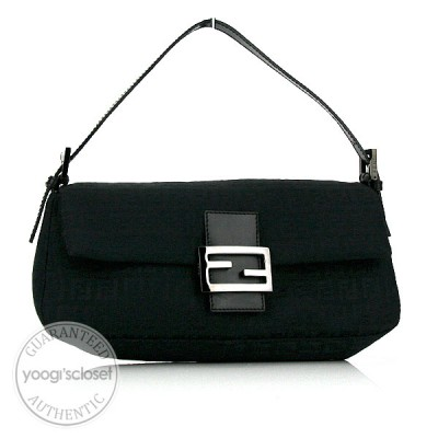 Fendi Black Zucchino Canvas East-West Baguette Bag