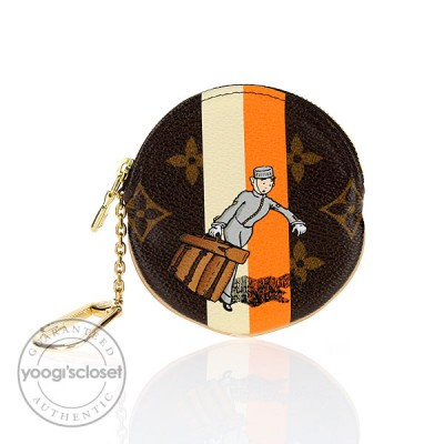 Louis Vuitton Limited Edition Orange/White Monogram Groom Round Coin Purse