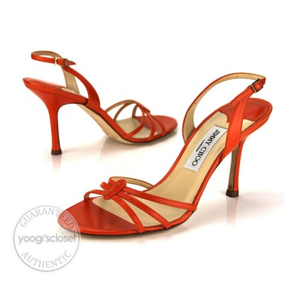 Jimmy Choo Orange Leather Strappy Open Toe Slingback Sandals Size 9.5