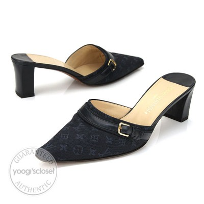Louis Vuitton Navy Blue Buckle Canvas Monogram Slides Mules Size 8.5
