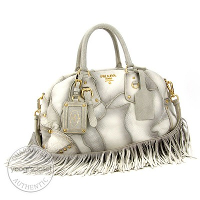 Prada Bianco Cervo Patch Bauletto Bag BL0391