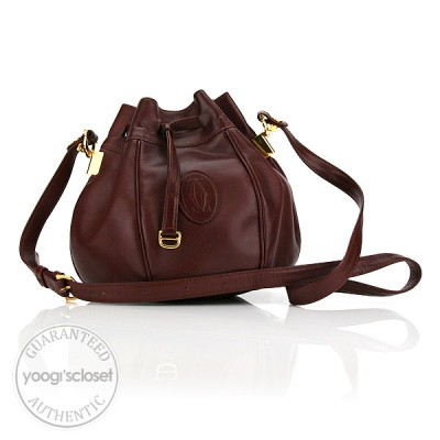 Cartier Bordeaux Leather Small Drawstring Bag