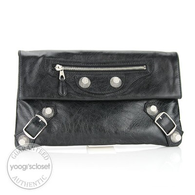 Balenciaga Black Arena Giant Envelope Clutch Bag