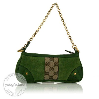 Gucci Green Suede Chain Pochette Bag