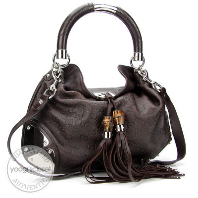 Gucci Dark Brown Guccissima Medium Babouska Indy Top Handle Bag