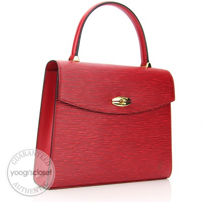 Louis Vuitton Castillion Red Epi Leather Malesherbes Bag