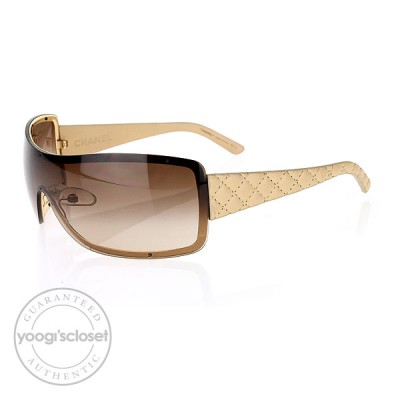 Chanel Beige Quilted Leather Temple Shield Sunglasses 4155-Q