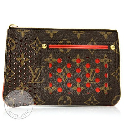 Louis Vuitton Limited Edition Orange Monogram Perforated Accessories Pochette Pouch