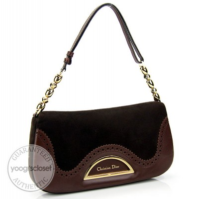 Christian Dior Brown Suede Shoulder Bag