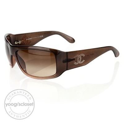 Chanel Brown Frame Crystal CC Logo Sunglasses