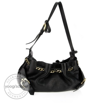Burberry Black Leather Chain Shoulder Bag