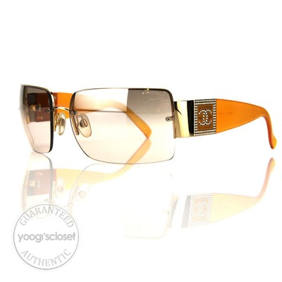 Chanel Orange Gold Frame Brown Lenses Crystal Sunglasses 4095