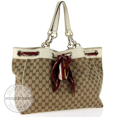 Gucci Beige/Ebony GG Fabric Positano Bag
