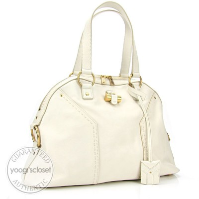Yves Saint Laurent Ivory Leather Large Muse Bag