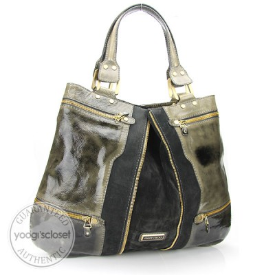 Jimmy Choo Olive Green Patent Leather and Suede Expandable Tote Bag