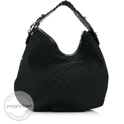 Gucci Black GG Fabric Braided Horsebit Hobo Bag