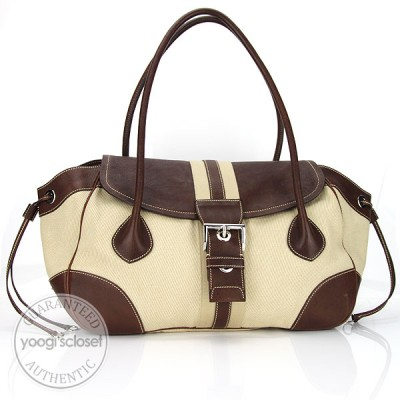 Prada Beige Canvas Daino Shoulder Bag BR2937