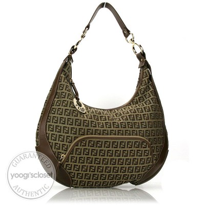 Fendi Zucchino Canvas Front Pocket Hobo Bag