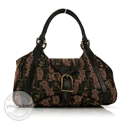 Fendi Tobacco Zucca Canvas Embroidered Floral Satchel Bag